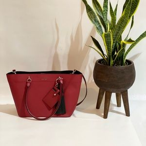 Calvin Klein red and black Saffiano Tote